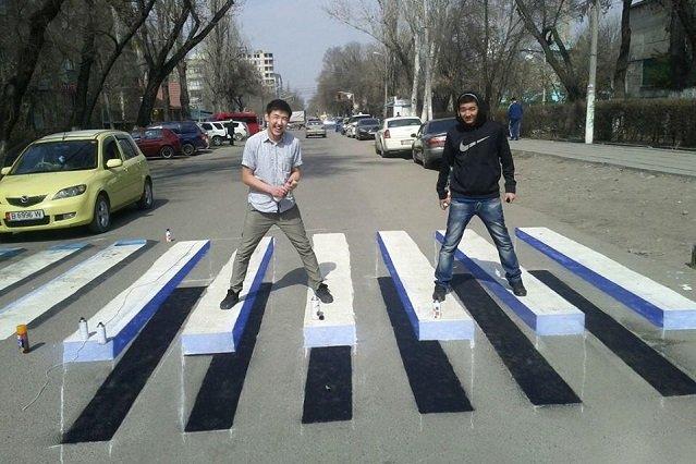 """3Д малюнак перахода тыпа """"зебра"""" у Кітаі"""
